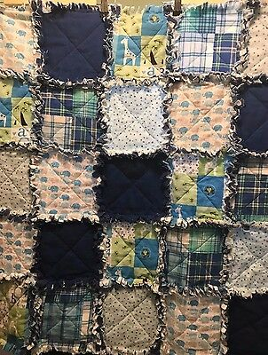 Baby Boy flannel rag quilt ~ Great shower gift~HandMade in the USA