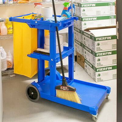 Lavex Janitorial Janitor Cleaning Cart 3 Shelves Vinyl Bag House Keeping Office