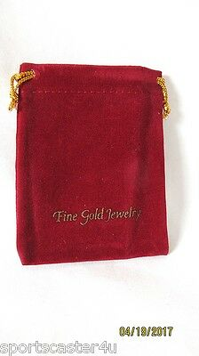 """NEW! 50 LOT Velveteen Drawstring Jewelry Pouches Gift Bags Burgandy/Gold 4"""" X 3"""""""