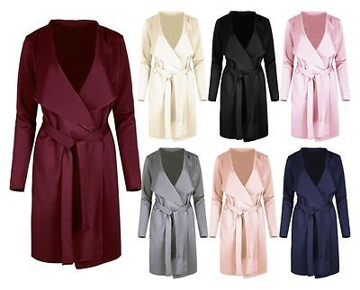 Womens Italian Waterfall Wrap Over Belted Blazer Ladies Long Sleeves Duster Coat