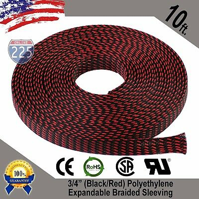 """10 FT 3/4"""" Black Red Expandable Wire Sleeving Sheathing Braided Loom Tubing US"""