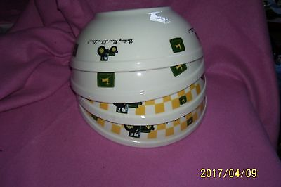JOHN DEERE Stoneware Mixing Bowl Collection 4pc Tractor Cooking Serving White