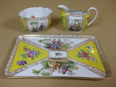 Porcelain German Richard Klemm Dresden Milk and Sugar bowl on Tray