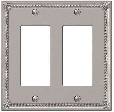 Double (2) Gfi Rocker Imperial Bead Brushed Nickel Switchplate Wallplate