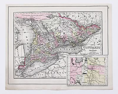 1894 Ontario Canada Map Lake Erie Railroads Lake Huron Lockport ORIGINAL