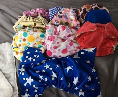 Lot of 10 LBB Happy Flute And Other brand cloth diapers pocket 2 Inserts
