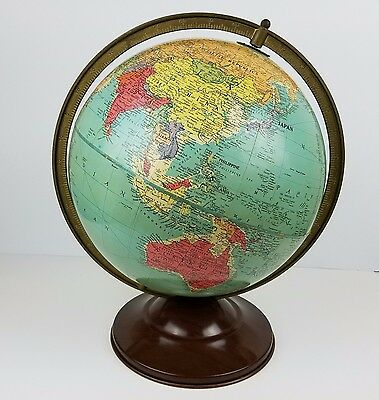 "Replogle Old World Globe 12"" Full Metal Ring Vintage USA"