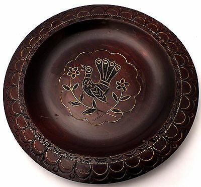 """Peacock Wood Plate 7.5"""" Etched Bird Dish Wall Art Vintage Decorative Collectible"""