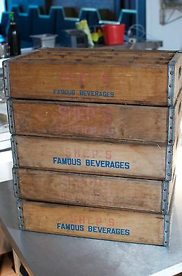 5 wooden soda crates all in good condition, Shep's Famous Beverage!