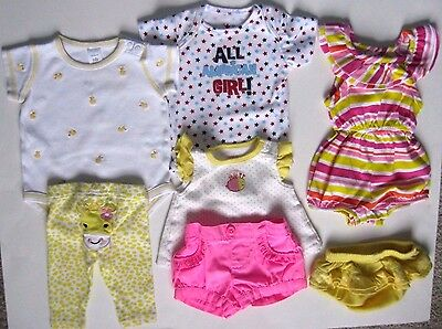 Lot of 7 Girls tops/pants/shorts/summer dress Newborn Carter's (4) and other(3)