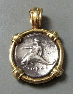 c. 425 - 380 BC SILVER CALABRIA, BOY ON DOLPHIN DIDRACHM 18K MD PENDANT