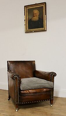 Vintage Antique French Leather Club Chair