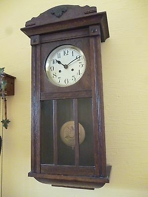 old striking wall clock with pendulum- spares/repairs