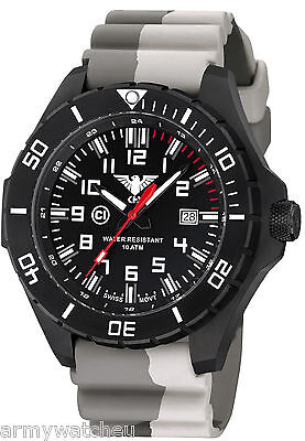 KHS Watches Landleader Black Steel Diver Band Camouflage Swiss Movement C1-Light