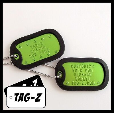 2 Military Dog Tags - Custom Embossed Green Tags with Silencers & Chains