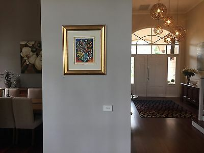 Small original art painting with gold frame