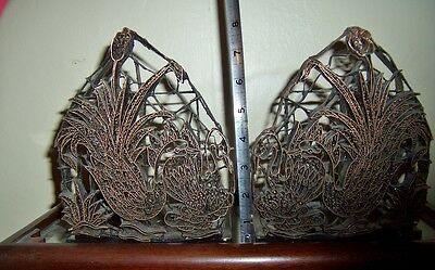 rare pair vintage Copper Batik stamp tjap chop for hand block printing swans