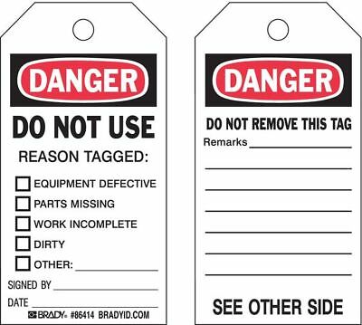 Danger Tag,5-3/4 x 3 In,Hd Polyest,PK10