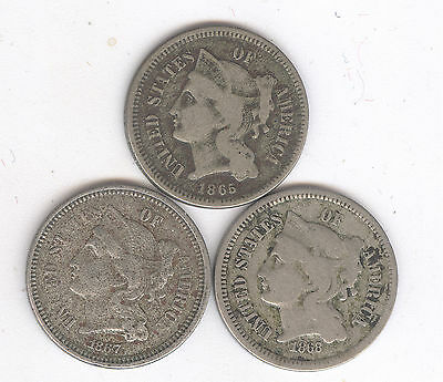Lot of 3 -Three Cent Pieces + 1865, 1867 & 1868 + Nickel + No Reserve!!