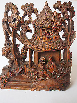 Antique Chinese 19th c Carved Rosewood Figural Pagoda Child Kid w Monk~Sculpture