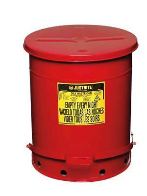 JUSTRITE 09508 Oily Waste Can,14 Gal.,Steel,Red