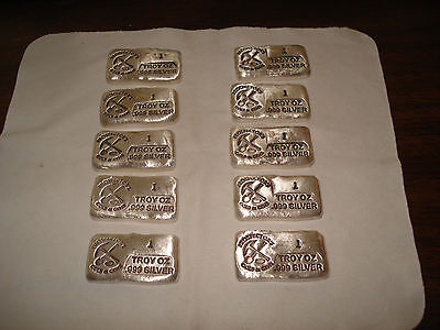 10 Silver Bars - 1 TROY OZ .999 SILVER BARS - Old Style Bar Hand Poured Total Of
