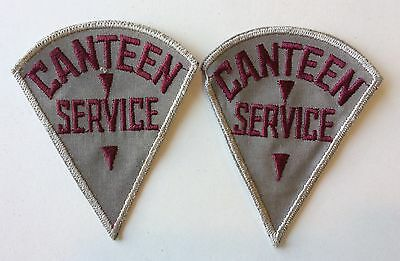 Set of 2 Vintage Army CANTEEN SERVICE Shoulder Patches, Maroon & Gray; Militaria