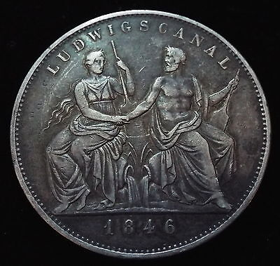 German States, Bavaria 1846 Two 2 Thaler Ludwig Canal Germany Silver Coin 3.5 G.