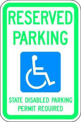 LYLE HC-WA01-12HA Parking Sign,18 x 12In,GRN and BL/WHT