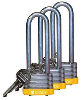 BRADY 123255 Padlock, KA, 3 In H, 5 Pin, Steel, PK 3