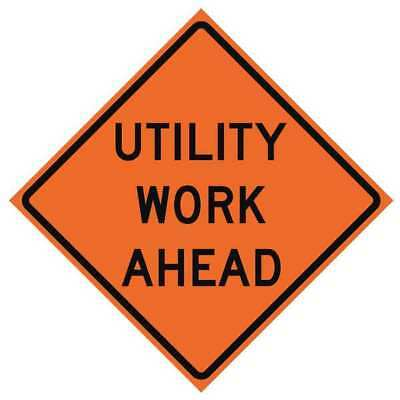Traffic Sign,Utility Work Ahead, H 36 In USA-SIGN 669-C/36-NRVFO-UW