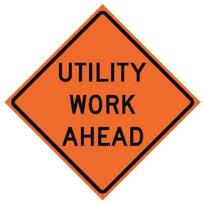 USA-SIGN 669-C/36-NRVFO-UW Traffic Sign, Utility Work Ahead, H 36 In