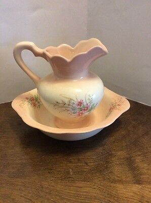 "Miniature Wash Bowl And Pitcher Pink Flowers 5.25"" Tall Ceramic Creamer Mini"