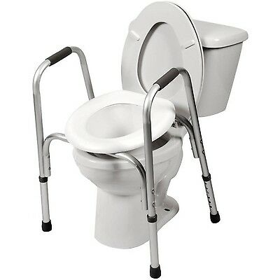 Adjustable Raised Toilet Bathroom Seat With Safety Frame Grab Bars Handicap Arms