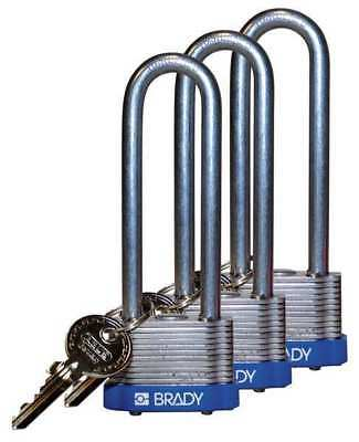 BRADY 123254 Padlock, KA, 3 In H, 5 Pin, Steel, PK 3