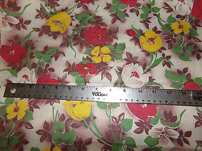 "Beautiful Vintage Floral Tulip Print Cotton Fabric 36"" X 2 1/2 Yards"