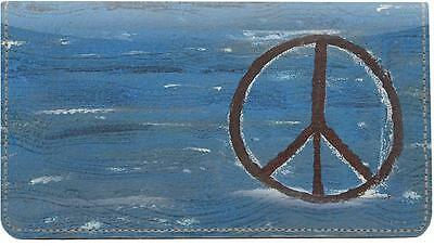 Peace All Around Leather Checkbook Cover