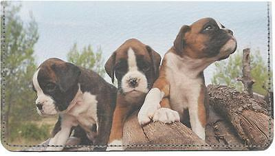 Boxer Puppies Leather Checkbook Cover