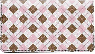 Girly Argyle Leather Checkbook Cover