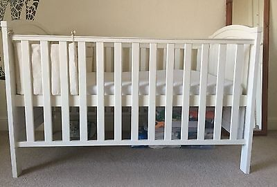 Henley Cotbed in White, Nursery Cot Bed Converts into Junior Size Bed