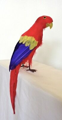 Parrot Decorative Artificial Bird, Red,  12 inch, per each