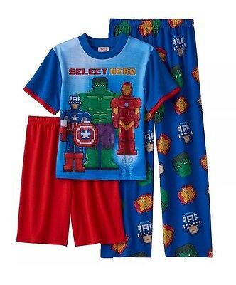 NWT Marvel Avengers Boys 16 Bit Select Hero 3 Pc Pajama Set Shorts & Pants Sz 4