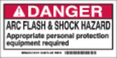 Arc Flash Protection Label,2 In. H,PK100 BRADY 101518