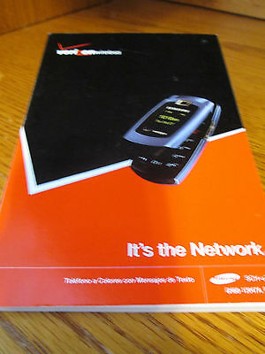 Samsung U340 Verizon Cell Phone Users Guide Owners Manual