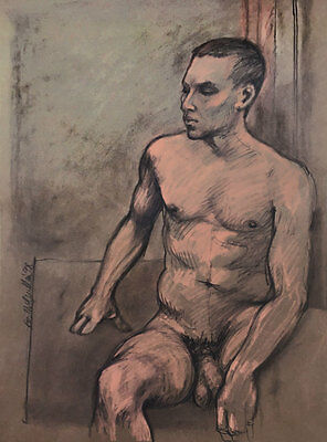 Original signed pastel drawing of a male nude, award-winning Melbourne artist