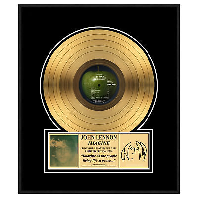 John Lennon Collectible: Imagine Framed Gold Record LP Record 16x18
