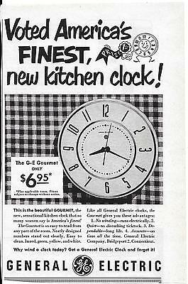 Magad General Electric Voted America's Finest Kitchen Clock!the G-E Gourmet 1950