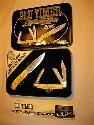 Schrade Old Timer Limited Edition 2016 Gift Set- 2 Knives w/ Sheath and Tin- New