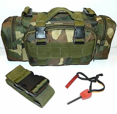 Molle Military Tactical Pouch & Small Flint Steel Magnesium Fire Starter Striker