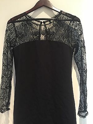 Benetton Dress With Lace Sleeve Size S Brand New